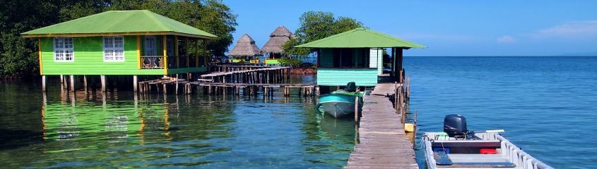 Bocas del Toro holidays - chalets over the water at Crawl Cay Panama