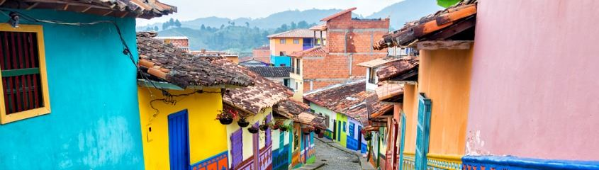 Colombia holidays - colourful houses near Bogota