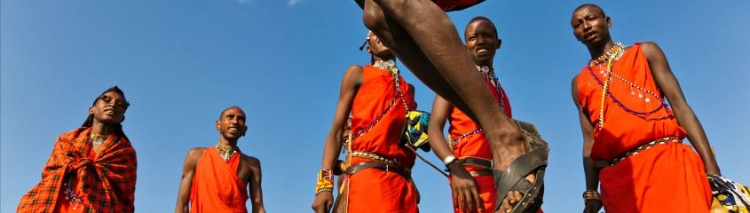 Cultural holidays in Africa - Masai men jumping