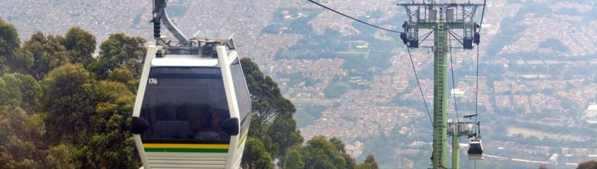 Medellin holidays Colombia - cable car with the city below