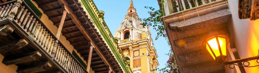 Cartagena holidays - view of colonial balconies and cathedral