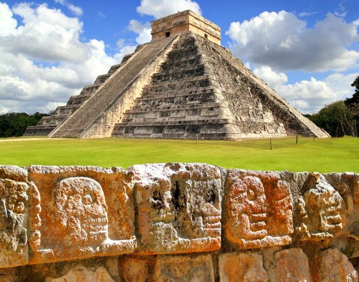 Chichen Itza - the Wall of Skulls and El Castillo pyramid